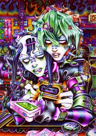 Фото Чернильное эмо - девушки с увлечением играют в какую - то компьютерную игру (Game over / Конец игры)