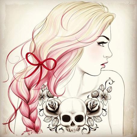 Фото Девушка с татуировкой, розовыми волосами и бантом (© Sveta_Sherer), добавлено: 13.06.2012 23:21