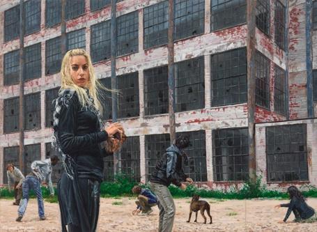 Фото Молодежь, бросающая камни в окна старого заброшенного здания, и их пес, художник Микель Дель Кампо / Michele Del Campo