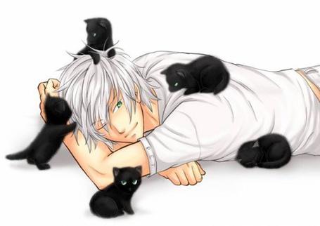 Фото Беловолосый парень лежит в окружении черных котят (© ColniwKo), добавлено: 15.06.2012 17:42