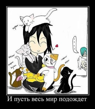 Фото Себастьян из аниме Тёмный дворецкий / KuroShitsuji с кошками (И пусть весь мир подождет)