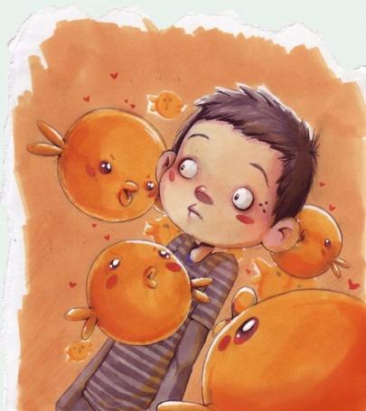 Фото Мальчуган с ожившими пузырями - позитивные рисунки от художника под ником esserawks