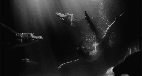 Фото Девушка плавает в воде среди крокодилов