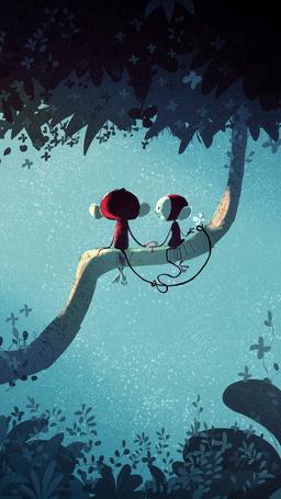 Фото У двух небольших обезьянок свидание на ветке дерева, автор Pascal Campion