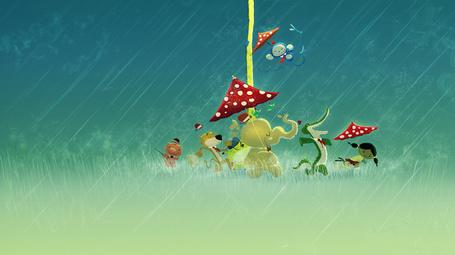 Фото Маленькая девочка в компании зверей: слона,обезьяны, крокодила, льва и поросенка, прячутся от ливня под мухоморами, автор Pascal Campion