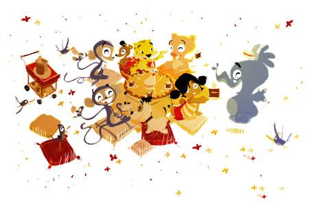 Фото Девочка пригласила на чаепитие своих друзей: обезьян, поросенка, слона, тигра, собаку и мышь, автор Pascal Campion