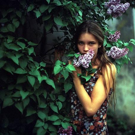 Девушка у кустиках блог