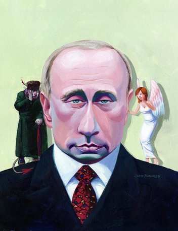 Фото Изображение президента России Владимира Путина, на одном плече которого-ангел, на другом-дьявол, и оба ему что-то нашёптывают. Художник-иллюстратор Jon Berkeley/