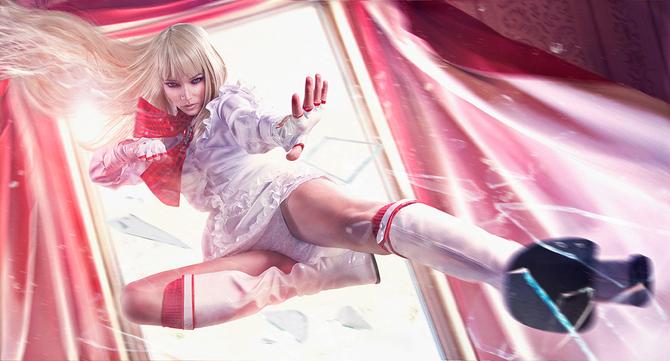 Фото Блондинка по имени Лили Рошфор врывается в комнату через окно, видеоиг