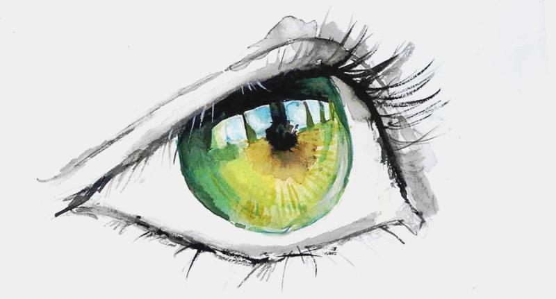 Фото нарисованный глаз зеленого цвета
