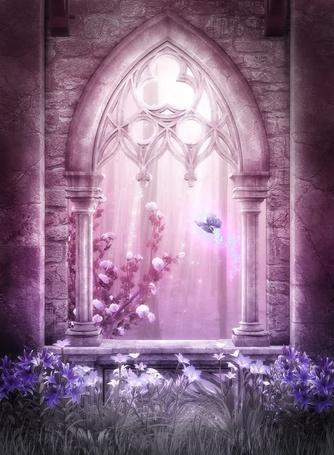 Фото Старинное окно заброшенного каменного замка, открывающее вид на цветущую кустовую розу и фиолетовую бабочку (© Юки-тян), добавлено: 06.07.2012 10:29