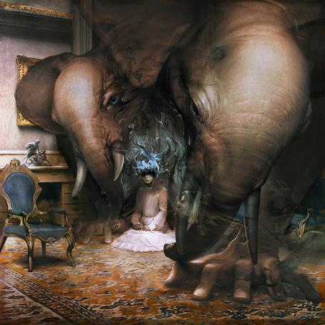 Фото Из сознания девочки сидящей на полу появилось чудовище с двумя слоновьими головами, иллюстратор Ryohei Hase