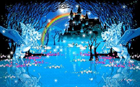 Фото Деревья и цветы, стоящие в воде. Два Пегаса, охраняющие замок. На ночном небе радуга