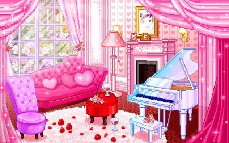 Фото Комната для влюбленных. Все оформлено в розовом цвете. На полу розовый ковер, на котором красные розы, стоит столик в виде красного сердца с цветами и бокалом вина. Рядом стоит розовый диван с подушками в виде сердечке. На окне розовые шторы. На стенах ро (© Юки-тян), добавлено: 10.07.2012 15:01