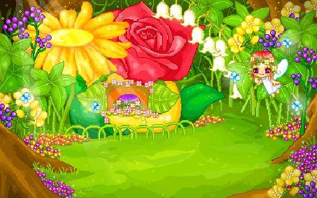 Фото Феи, живущие в доме из цветов, который находится в лесу
