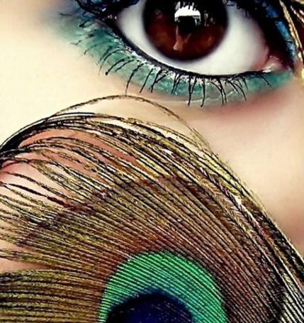 Фото Девушка держит павлинье перо рядом с глазом, накрашенным в тон перу