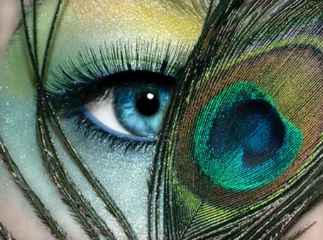 Фото Девушка держит павлинье перо рядом с глазом, накрашенном под цвет крыла