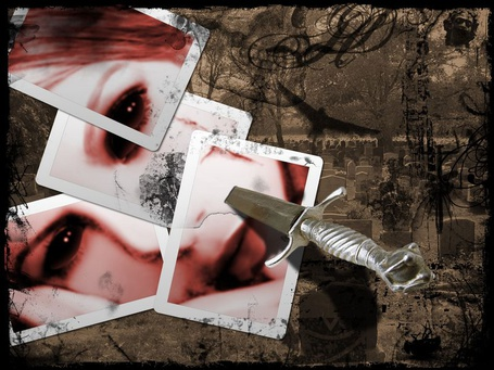 Фото Фотографии частей лица девушки, сложенные как пазл, в который воткнут кинжал
