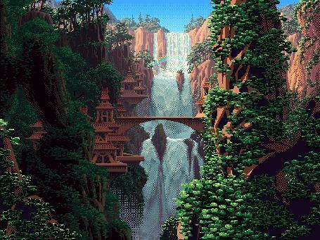 Фото Водопад  и мост в сказочной стране
