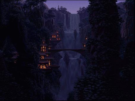 Фото Водопад  и мост в сказочной стране . Вид ночью