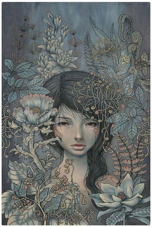 Фото Девушка среди разносортных цветов, художница Одри Кавасаки / Audrey Kawasaki (© Кофе мой друг), добавлено: 16.07.2012 11:55