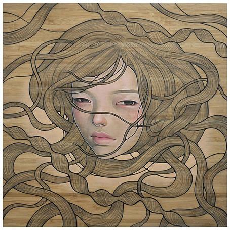 Фото Лицо девушки на фоне переплетения волос, художница Одри Кавасаки / Audrey Kawasaki (© Кофе мой друг), добавлено: 16.07.2012 12:09
