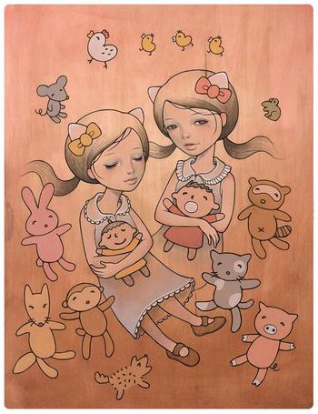 Фото Две маленькие девочки с игрушками,  а вокруг них ходят зверюшки: кролики, лисицы, свинки, курочки, мышата, обезьяны кошки, художница Одри Кавасаки / Audrey Kawasaki