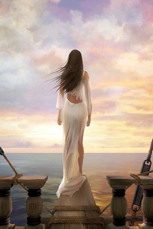 Фото Девушка в рваной одежде стоит на мостках корабля