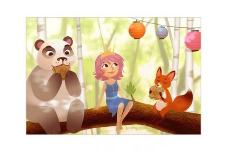 Фото Лесная фея сидит на дереве в лесу и смотрит на китайские фонарики, по бокам сидят панда и лисица, которые кушают сендвичи (© Кофе мой друг), добавлено: 19.07.2012 11:59