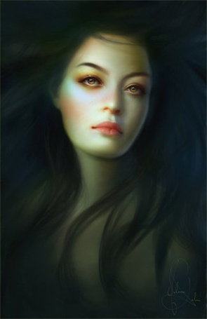 Фото Красивая девушка с развевающимися волосами. Иллюстратор Мелани Делон / Melanie Delon (© Флориссия), добавлено: 20.07.2012 15:54