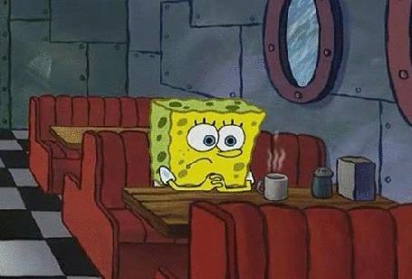 Фото Грустный Губка Боб сидит за чашечкой кофе в кафе, за окном идет дождь, мультсериал ' Губка Боб Квадратные Штаны / Sponge Bob Square Pants '