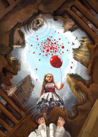 Фото Грустная девочка с воздушным шариком в разрушенном городе, смотрит на своё отражение в луже