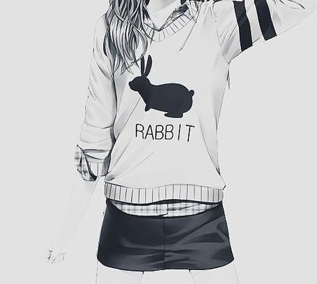 Фото Девушка в свитере с кроликом, под которым написано Rabbit / Кролик, и черной юбке (© Юки-тян), добавлено: 23.07.2012 18:42