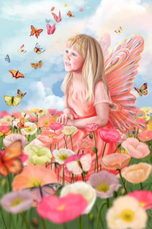 Фото Девочка-фея на поле с цветами любуется бабочками - художник-иллюстратор Яна Кучеева