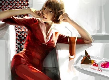 Фото Девушка сидит в кафе со стаканом напитка и подносом со сладостями, иллюстратор  Zhang Weimang (© Кофе мой друг), добавлено: 25.07.2012 11:00