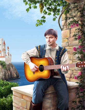 Фото Музыкант гитарой сидит на ступенях лестницы, за его спиной виден замок на горе и голубые волны моря - художник-иллюстратор Яна Кучеева (© Anatol), добавлено: 25.07.2012 15:48