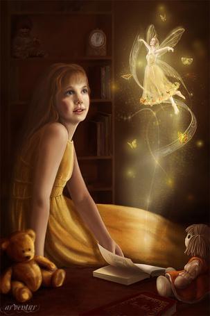 Фото Перед девочкой, читающей сказки, вдруг появилась фея, окружённая бабочками - художник-иллюстратор Яна Кучеева