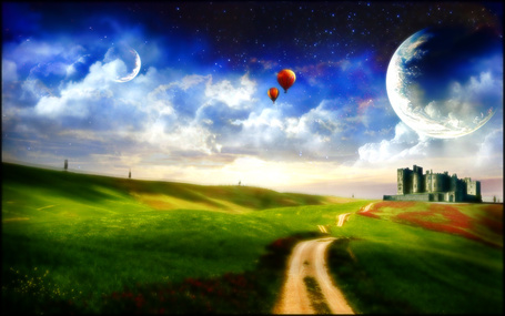 Фото Воздушные шары пролетают над лугом