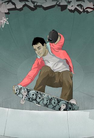 Фото Парень на скейте с черепами, и камерой в руке, иллюстратор Джейсон Левеск \ Jason Levesque (© lemon), добавлено: 27.07.2012 14:50