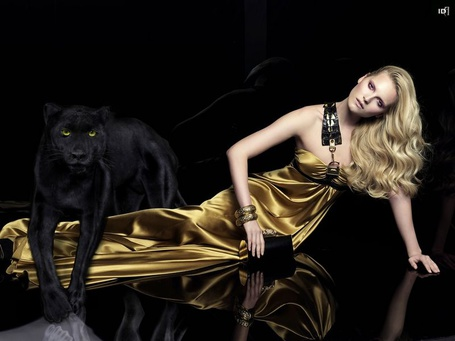 Фото Девушка лежит на зеркальном полу, с чёрной пантерой в ногах