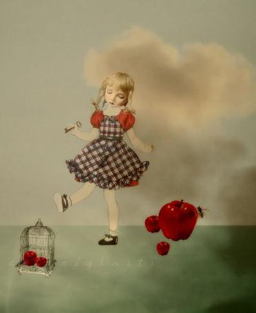 Фото Девочка с ключиком в руке, рядом клетка, яблоки