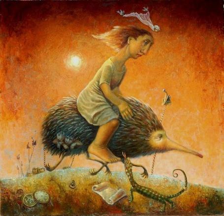 Фото Девочка путешествует верхом на ёжике