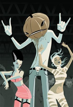 Фото Человек с тыквой на голове, а рядом танцующие девушки, иллюстратор Джейсон Левеск\Jason Levesque (© lemon), добавлено: 30.07.2012 22:51
