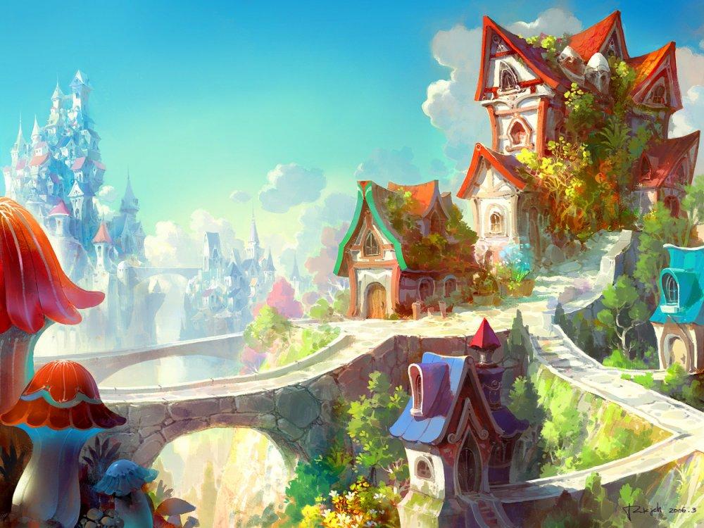 город рисунки сказочный картинки