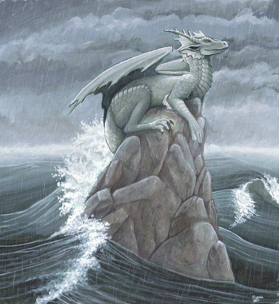 Фото Дракон сидит на камне выходящем из моря в сильный шторм