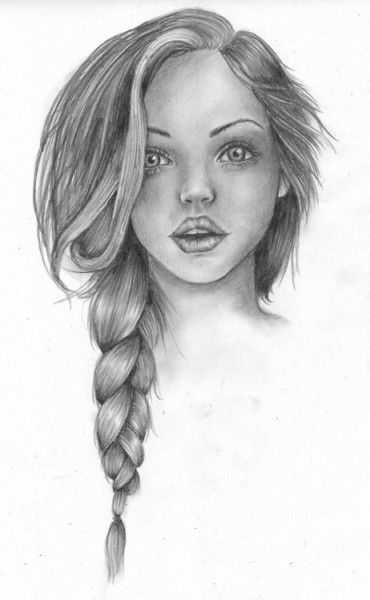 Фото нарисованная девушка с косичкой
