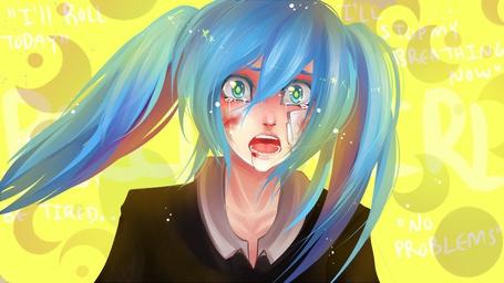 Фото Вокалоид Хатсуне Мику / Vocaloid Hatsune Mike в крови, с пластырем на щеке, плачет. Aрт от художницы Aishaxnekox (I'll Roll Today. I'll stopmy breathing now. Be tired. No problems)