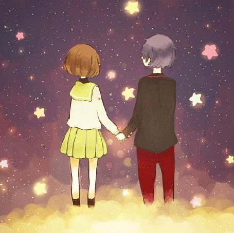 Фото Парень с девушкой в ночном небе держатся за руки и любуются на звёзды