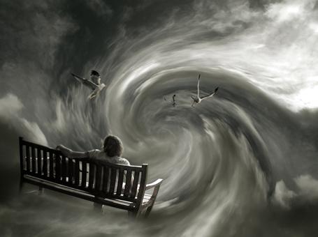 Фото Воронка в небе затягивает мужчину сидящего на скамейке и птиц пролетающих рядом (© Флориссия), добавлено: 07.08.2012 20:04