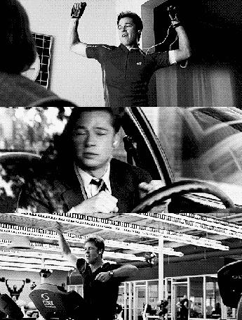 Фото Бред Питт / Brad Pitt в наушниках танцует в комнате, за рулем автомобиля и в спортзале